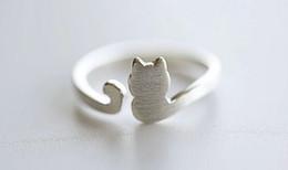 2019 anelli di gioielli imitazione 10PCS- R013 Anello in argento regolabile per gatto in argento dorato Anello con coda in feltro per gatto Anello semplice per gattino da donna
