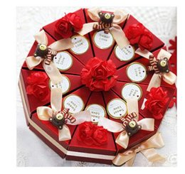 Wholesale Love Box Cake - 50Pcs Lot champagne Ribbon With Red Color Cake Boxes Wedding Favor Holers Party Gift Boxes Love Heart Bear Candy Boxes 2016 New Style