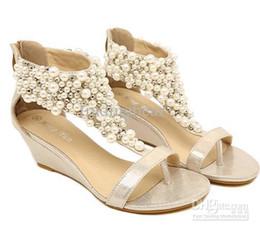 Wholesale Gold Flat Wedge Sandals - Wholesale sandals Bohemian Qaulity Beads Pearls Low heels ladies flat gladiator sandal Flip Flops
