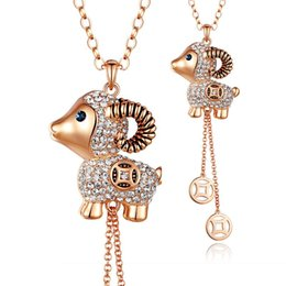 Wholesale Decorations Buy - Kalome jewelry to buy 3 to send 1 Fu sheep Pendant Necklace decoration accessories autumn long female small sweater chain