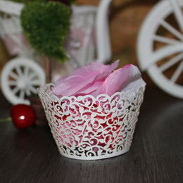 Wholesale Baby Shower Cupcake Favor Boxes - Wholesale- 100pcs White Pink Vine Lace Laser Cut Paper Cupcake Wrappers Clouds Cup Cake Gift Box Wedding Party Favor Baby Shower Decoration