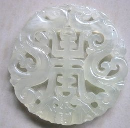 "Wholesale White Hetian Jade - China Xinjiang Hetian white jade handwork carving two dragon and ""shou "" word and bat Pendants free shipping"
