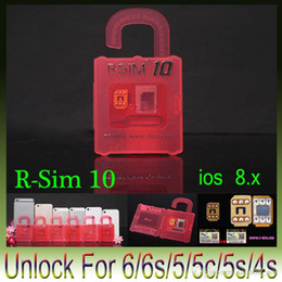 Wholesale X Sim Iphone 4s - Newest Original R-SIM 10 rsim 10 R SIM 10 Official Unlock Card for iphone 4S 5 5C 5S 6 6plus iOS7. X-8.X Support Sprint AT&T T-mobile Cricke