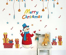 Wholesale Abstract Free Wallpaper - DIY Merry Christmas Home Decor Decorative Wall Stickers Snowman Gift Windows Showcase Sticker Decals Creative Visual Wallpaper Free Shipping