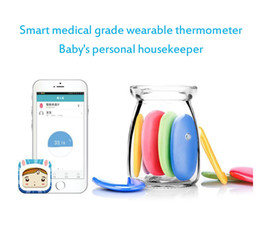 Wholesale Smart Sensor Thermometer - DHL Free! Smart Digital Children Skin Thermometer Electronic Intelligent Thermometers Bluetooth Wireless APP Temperature Sensor Wholesale