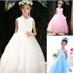 Wholesale Princess Dresses Age 12 - Baby Girls Flower Tulle Long Formal Children Wedding Bridesmaid Princess Party Dress Kids Ball Gown Age 3-12