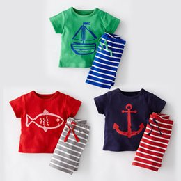 Wholesale Baby Clothes Fishing - Baby Clothes Boys Cartoon anchor fish Striped Casual Suits Sailboat Sets Short Sleeve Top +Striped Pants 2pcs suit Children Clothes