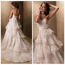 Wholesale Sweetheart Flowers - Beautiful Sweetheart Lace Appliques Wedding Dresses Handmade Flowers Adorned Waistline Tiered Church Bridal Gowns Personal Custom 2015