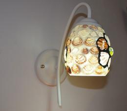 Fleurs de verre de chevet de chambre à coucher coquille simple lampe frontale, éclairage de couloir applique murale méditerranéenne E27. Miroirs européens, applique de salle de bain ? partir de fabricateur