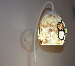 Wholesale Mediterranean Bedside Lamps - Bedroom bedside glass flowers shells single head lamp, aisle lights Mediterranean E27 wall sconce. European mirror lights,bathroom wall lamp