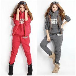 Wholesale Detachable Pants - Hoodies 2016 New Ladies Hoodies Pullover Sweatsuits Sports Suits Thickening Leisure Hoodie+Pants+ Vest 3pcs Sets Women sweatsuits 2015
