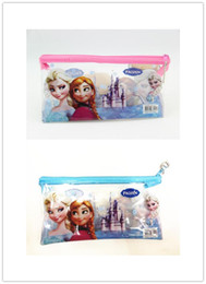 Wholesale Girls Plastic Bags - 2014 Frozen Elsa Anna Pencil case pen bag stationery school supplies for Christmas Kids Boys Girls Gift H0036