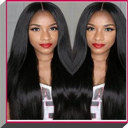 Wholesale Brazilian Auburn Lace Wigs - 100% long stright black color soft human hair silk top full lace wig