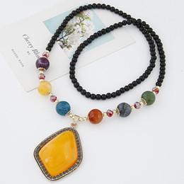 2019 koreanische perlen halskette Mode Korean Bohemian Perlen Lange Halskette Für Frauen Schmuck Bijoux Geometrische Anhänger Halskette Frauen Zubehör rabatt koreanische perlen halskette