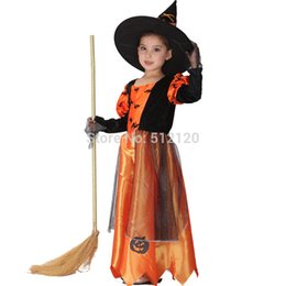 Wholesale Baby Witch Costumes - Children Kids Baby Girls Sexy Halloween Carnival Party Pumpkin Maxi Dress with Hat Witch Costumes Child Cosplay Clothing