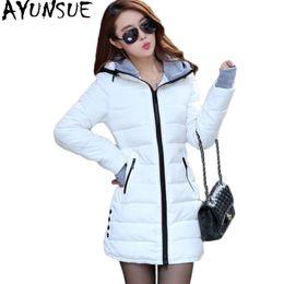 Wholesale xxl ladies long winter coats - Wholesale- AYUNSUE Wadded Clothing Female 2017 New Women's Winter Jacket Cotton Jacket Slim Parkas Ladies Coats XS-XXL YG126