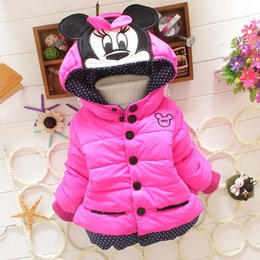 Wholesale Cotton Lined Coats - 2015 Fashion Cotton Children Michey Minnie hoodie Thickened Girls Coats Long Sleeve Korean Style Kids Outwear Candy color fit 1-4Year E109