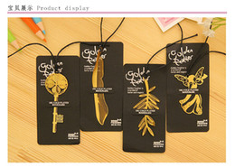 Wholesale Gilt Angels - Exquisite mini Bookmarks 2016 Cannes sign gild Palm Frond feather angel bookmarks best birthday gift set 100pcs