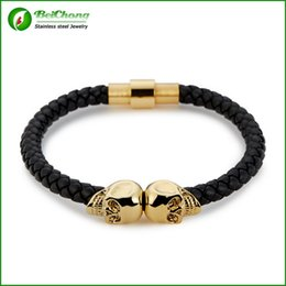 Wholesale Women Twin Sets - BC Jewelry Fashion Vintage Design Northskull Genuine Leather Twin Skull Bracelets Bangles for Man Women Jewelry Gift BC-186