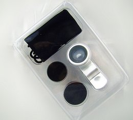 Wholesale Glasses For Fishing - Real glass Universal 3 in 1 Clip-On Fish Eye Lens + Wide Angle + Macro Lens Camera kit for iPhone Samsung Best quality lens