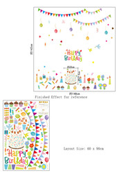 Wholesale Happy Stickers - Happy Birthday Background Wall Decal Sticker Art Murals Removable Double Visible Wallpaper Poster Sticker for Birthday Day Decoration