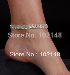 2019 stretch-knöchel armband HOTSALE Tänzer Showgirl Fußkettchen Stretch Fuß Armbänder 3 Reihe Strass versilbert günstig stretch-knöchel armband