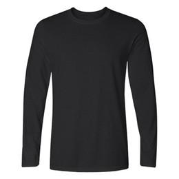 Wholesale Wholesale Plain Black T Shirts - Men casual T-shirt 2017 Fashion long sleeve plain pullover T-shirt