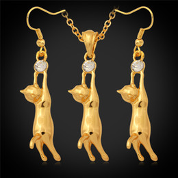 Wholesale Kids Silver Jewelry Sets - Lovely 18K Gold Plated Cute Cat Pendant Necklace Earrings Rhinestone Fashion Jewelry Set Gift for Kid Girls