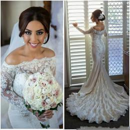 Wholesale Elie Wedding - Elegant Mermaid Wedding Dresses Elie Saab Arabic Vestidos De Novia Custom Made Lace Off Shoulder Bridal Gowns