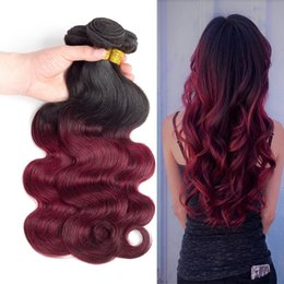 Wholesale Soft Wave Brazilian Hair Weave - Red Ombre Hair Brazilian Body Wave 3 4 Bundles Dark Red 1B 99J Brazilian Hair Human Hair Weavings Soft Smooth Bouncy Silky Untangled Full