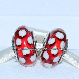 Wholesale Red Bracelet Thread - 5pcs 925 Sterling Silver Thread Red Sweethearts Murano Glass Bead Fits European Pandora Jewelry Charm Bracelets Necklaces & Pendants