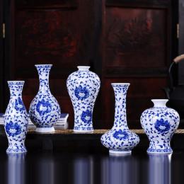 Wholesale Ceramic Vase Antique - Vintage Home Decor Ceramic Flower Vases For Homes Antique Traditional Chinese Blue And White Porcelain Vase For Flowers