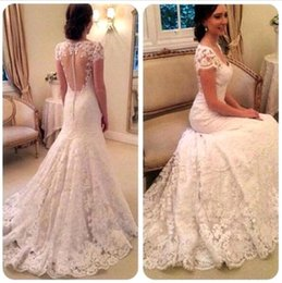 Wholesale Eyelash Lace Dress - Vestidos De Noiva 2016 Full Lace Mermaid Wedding Dresses Elegant V Neck Short Eyelash Lace Edge Sleeves See Through Back Bridal Gown BA2090