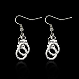 Wholesale Handcuffs Jewelry - New Metal Freedom Handcuff Earrings Dangle Ear Cuffs for Women inspiration Fashion Jewelry Gift Drop Shipping