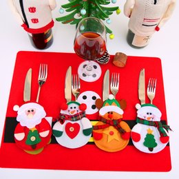 Wholesale Plastic Suit Bags - 12pcs Christmas Decoration 2017 Cutlery Suit Silveware Holders Porckets Knifes Folks Bag Snowman Dinner Decor Home Decoration