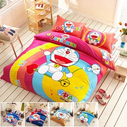 Wholesale Doraemon Bedding - Wholesale-Free Shipping Doraemon bedding set 100% Cotton bedding cartoon duvet cover   fitted sheet , 3-4pcs twin queen king size