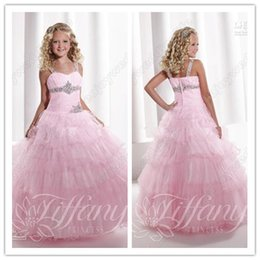 Wholesale Sexy Girls Dressed Princesses - 2015 Sexy Pink Sweetheart Straps Tulle Pageant Dresses Crystals Layered Princess Little Flower Girl Gownant Dresses