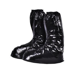 Wholesale Motorcycle Rain Boot - Black flat Heel Motorcycle Bicycle Riding Mens Shoe Covers PVC Galochas,Motorcycle Rain Boot Covers Waterproof Rain Shoe Covers
