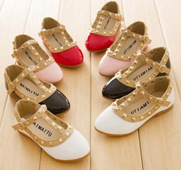 Wholesale Child Pink Dress Shoes - Girls Dress Shoes Kids Leather Shoes Children Shoes Kids Footwear Fashion Casual Princess Dress Shoes Rivet children shoes dance shoes