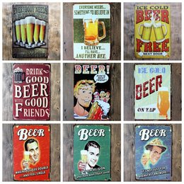 Wholesale Cross Signed - Beer Metal Painting For Home Living Room Bar Coffee House Decoration Vintage Style Tin Sign Many Styles 4 99ljc C