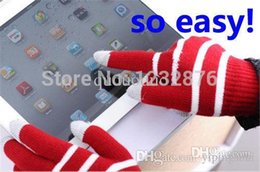 Wholesale Winter Glove Cheapest - Factory price The cheapest 2015 Unisex Stripe Touch Screen Stretchy Soft Warm Winter Wool Gloves Mittens for Mobile Phone