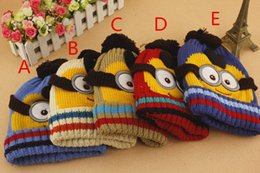 Wholesale Minions Hats For Kids - Novelty Kids Despicable Me Hat Minions Knitted Beanies Hot Winter Warm Hats For Boys and Girls ZJ1188