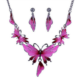 Wholesale newest earrings style - Newest Mood Epoxy Style Statement Necklace+Earring Jewelry Set Fashion Elegant Buterfly Necklace Party Collar Jewelry For Women L9289
