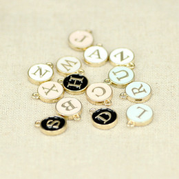Wholesale Initial Charms Pendant - 26 Letters Stamped Initial Charm Pendants GOLD Plated White Drip Round DIY Letter Pendant for necklace 4 colors for choices