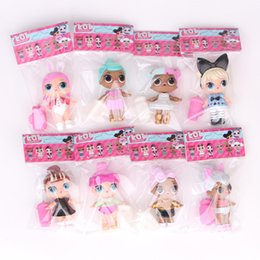 Wholesale Dolls American Girl - New 8 pcs  Lot LOL Surprise Doll with feeding bottle American PVC Kawaii Children Toys Anime Action Figures Realistic Reborn Dolls for girl