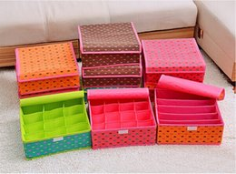Wholesale Storage Boxes Underwear Bra - Free shipping 16 grid beautiful multi-colored non-woven underwear storage drawer box covered bra panties socks finishing box