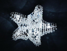 Wholesale Starfish Bedroom - Modern K9 Crystal Starfish Ceiling Light LED Chandelier Lighting Fixture Hanging Cord Pendant Lamps Clear Crystal