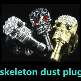 Wholesale Earphone Jack Plugs Hole - 3.5mm Cool Skeleton Dustproof Plug Head Rhinestone Phone Headset Hole Plug Jack for iPhone Samsung
