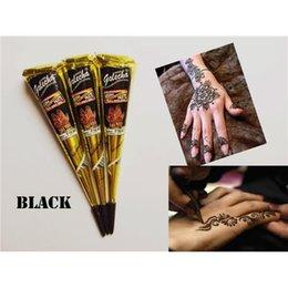 Wholesale Black Henna Hand Tattoos - 12pcs lot Original India Imports Golecha Henna Paste Black Henna Temporary Tattoo Cream Body Art Paint Cream 25g Fast Colour Fast Ship