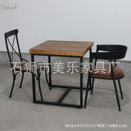 Wholesale Retro Dinette - American country to do the old retro wood wrought iron square dinette table desk desk Hotel rectangular tables